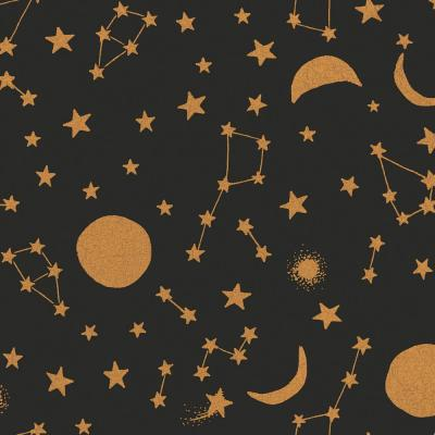 Celestial Midnight & Metallic Gold Wallpaper Border
