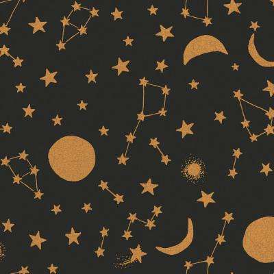 Kids Celestial Midnight and Metallic Gold Self-Adhesive Removable Borders and Stripes