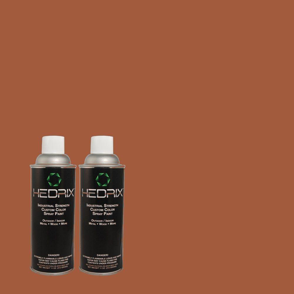 Hedrix 11 oz. Match of 5732 Natural Redwood Semi-Gloss Custom Spray Paint (2-Pack)