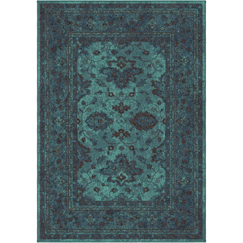 Orian Rugs Grimaldi Blue Bright Colors 5 Ft X 8 Indoor Area Rug