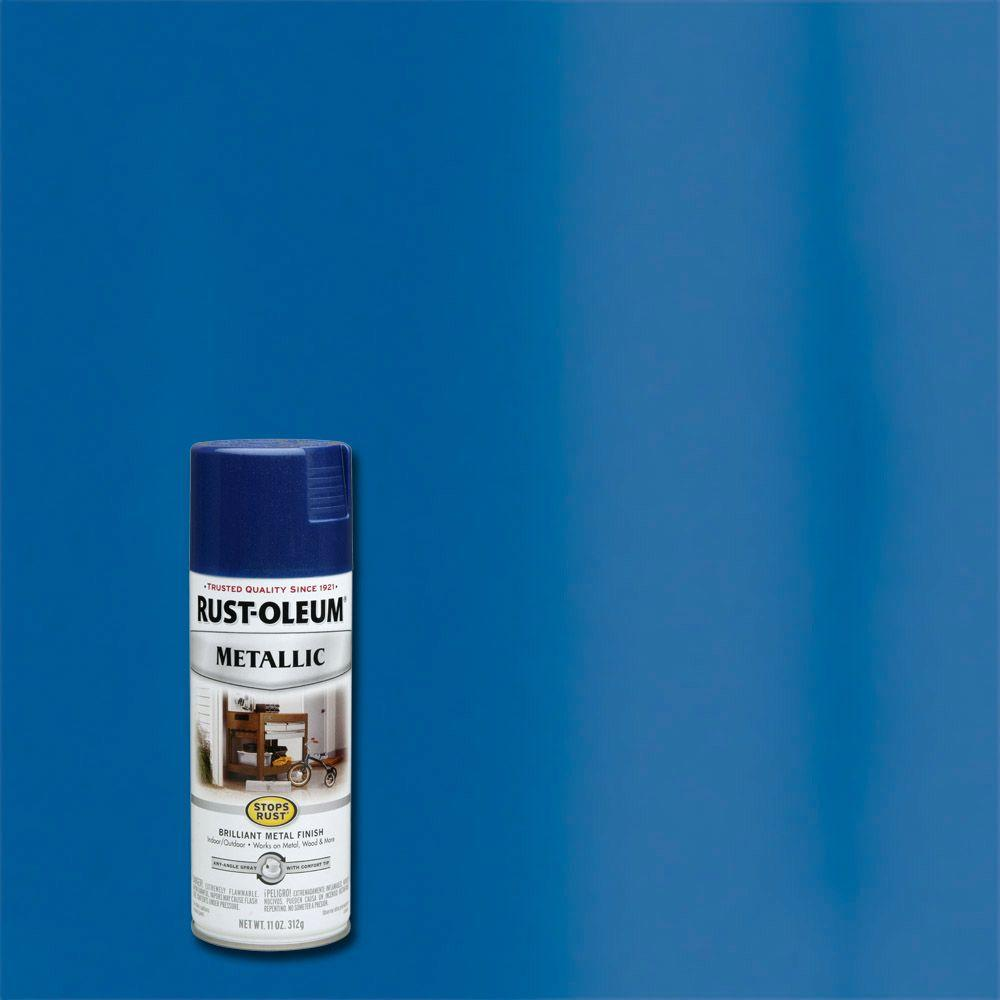 Rust oleum stops rust 11 oz metallic cobalt blue protective spray paint 7251830 the home depot for Rustoleum exterior metal paint