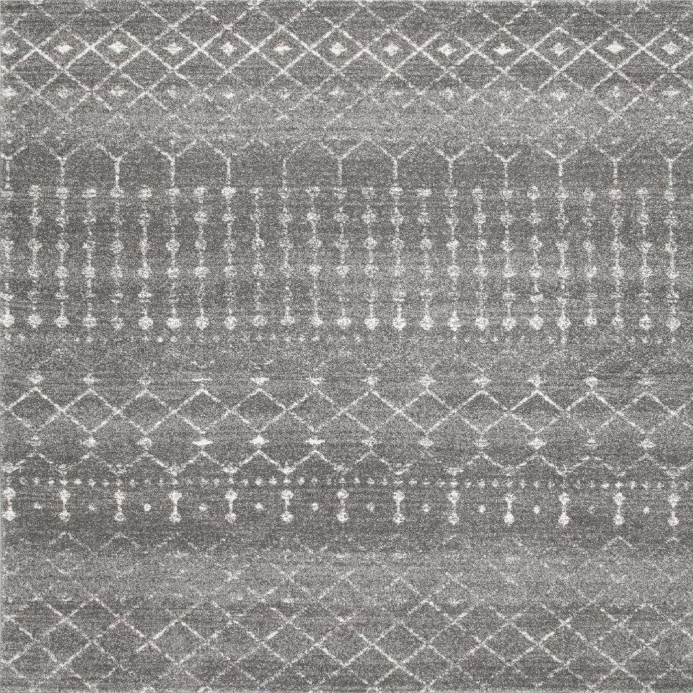 Blythe Modern Moroccan Trellis Dark Gray 6 ft. Square Rug