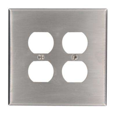 2-Gang 2 Duplex Receptacles, Large/Jumbo Size Wall Plate - Stainless Steel