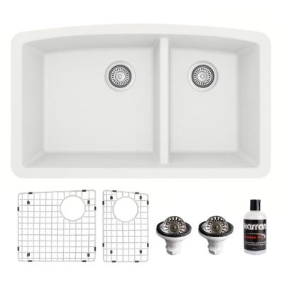 QU-711 Quartz/Granite Composite 32 in. Double Bowl 60/40 Undermount Kitchen Sink with Grids & Basket Strainers in White