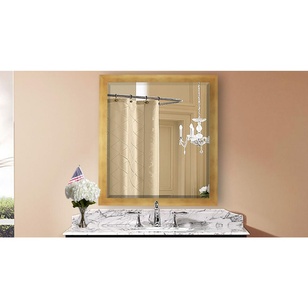 35.5 in. x 35.5 in. Hushed Golden Sunset Square Beveled Mirror