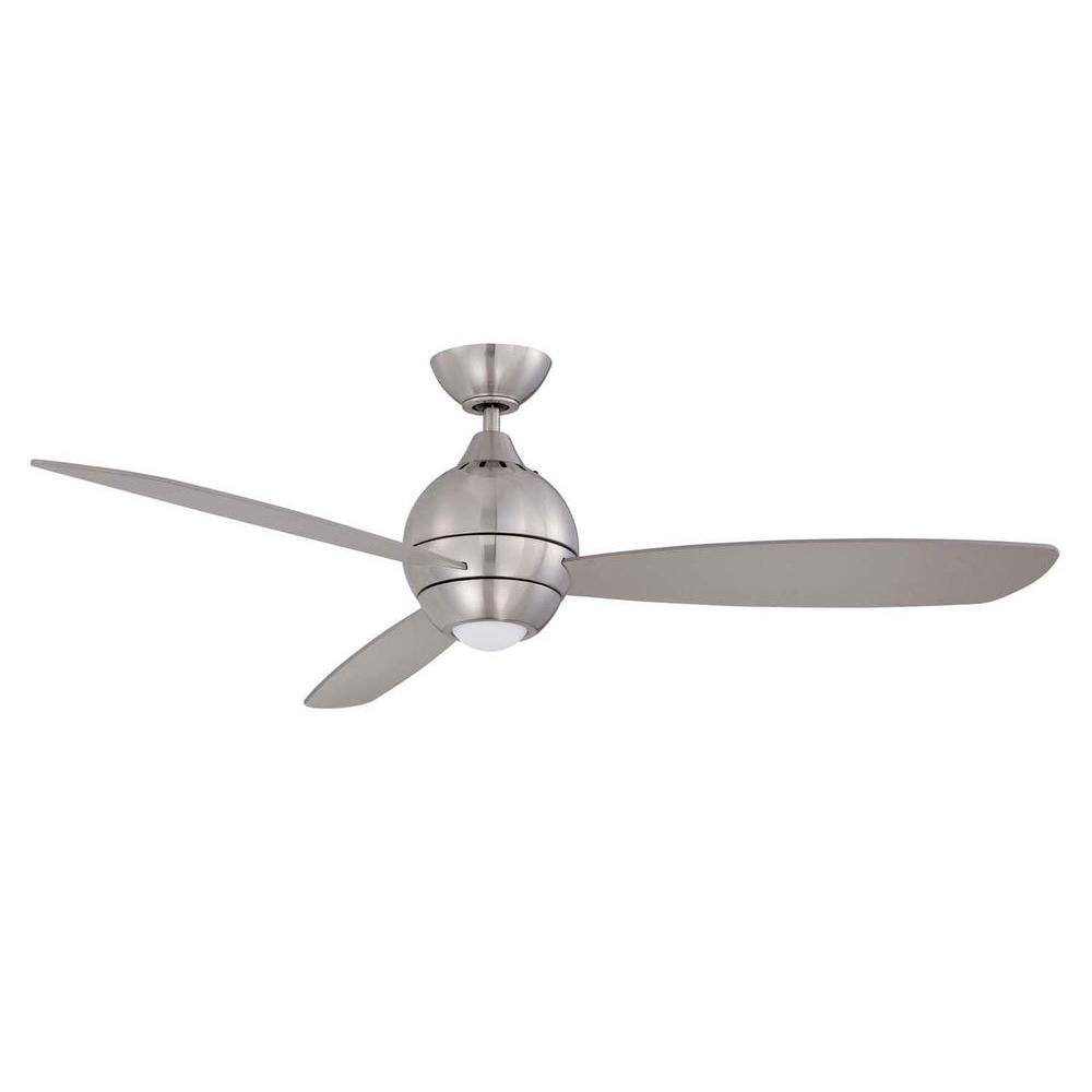 Designers Choice Collection Sphere 52 In Led Satin Nickel Ceiling Fan