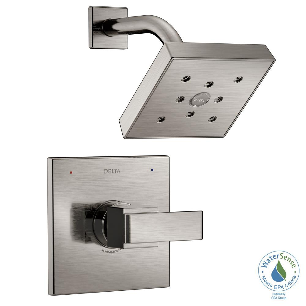 Ara 1-Handle Shower Faucet Trim Kit in Stainless Featuring H2Okinetic (Valve