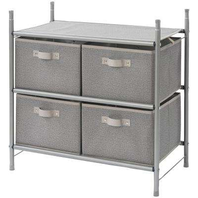 Harmony Twill 13 in. D x 25 in. W x 25 in. H Fabric Stackable 4-Bin Drawer Organizer