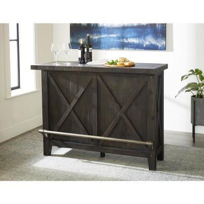 Yosemite Cafe Solid Wood Bar Cabinet with Wine Storage and Stemware Rack