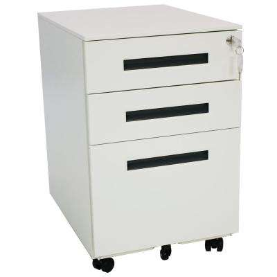 Wheeled White File Cabinet with Lock and Gray Handles