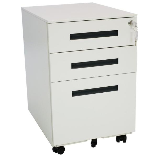 CASL Brands Wheeled White File Cabinet with Lock and Gray Handles