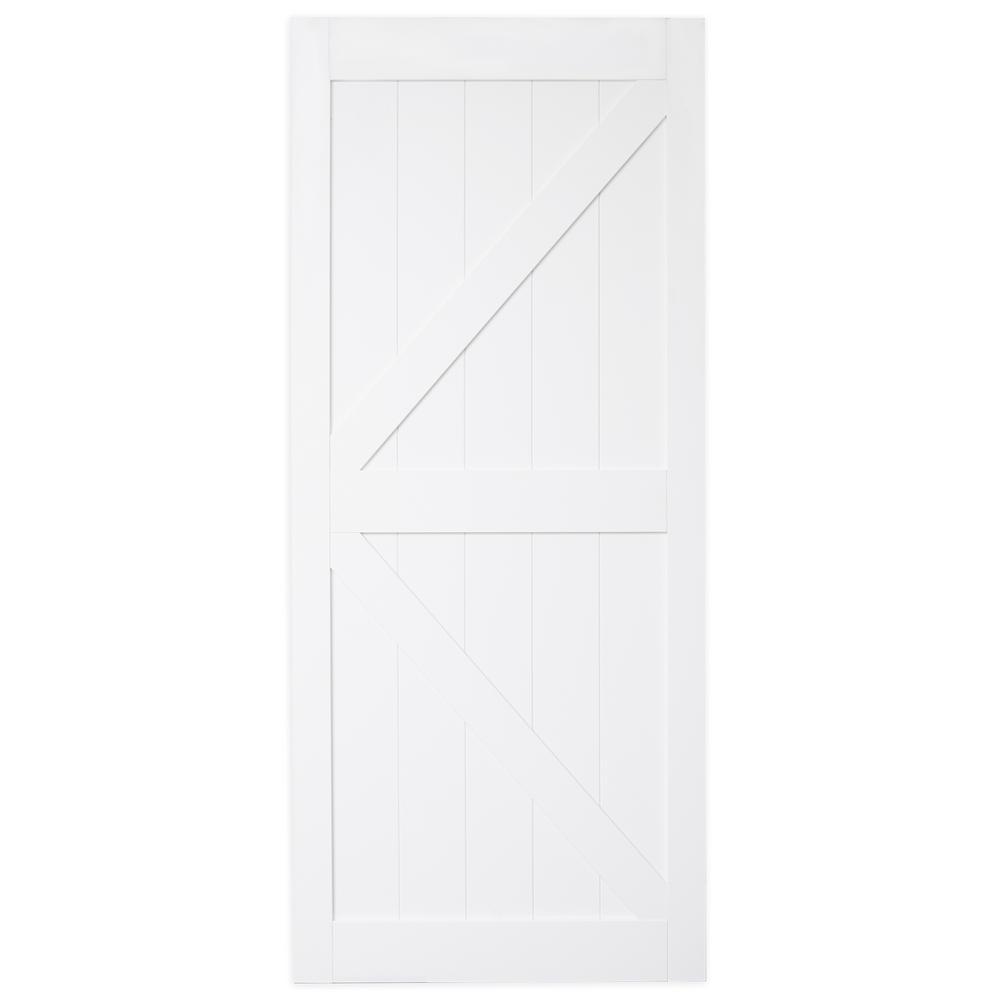 TRUporte 36 in. x 84 in. Bright White MDF K Frame Interior Barn Door Slab