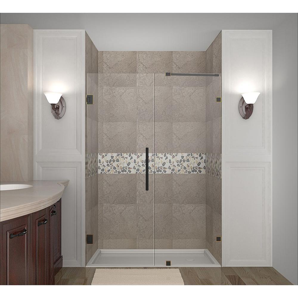 Nautis 54 in. x 72 in. Completely Frameless Hinged Shower Door in Oil Rubbed Bronze