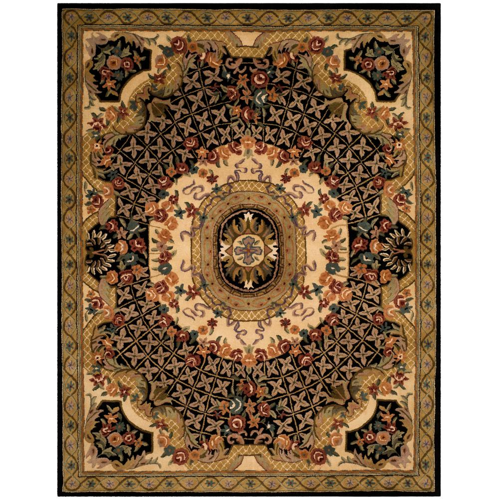 Large Area Rugs Gold: Safavieh Classic Black/Gold 8 Ft. X 10 Ft. Area Rug-CL304A