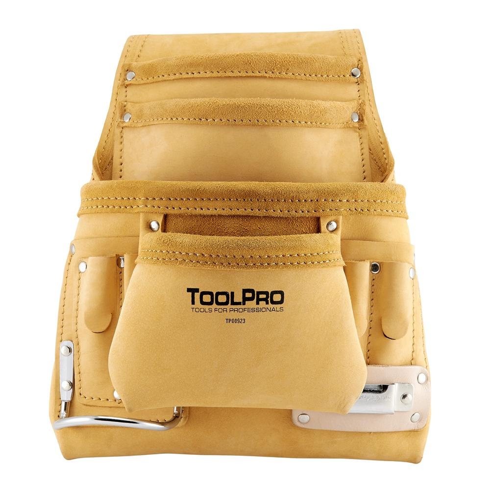 Toolpro 10 Pocket Top Grain Leather Nail And Tool Pouch