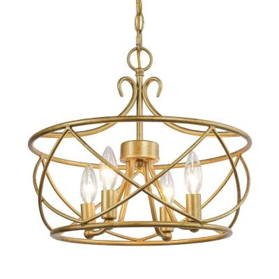 Gold 4-Light LED Aged Golden Modern Rust Drum Open Caged Island Chandelier Candlestick Basket Ceiling Pendant