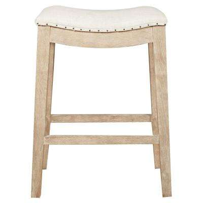 Harper 26 in. Bisque French Linen, Stone Wash Oak Counter Stool