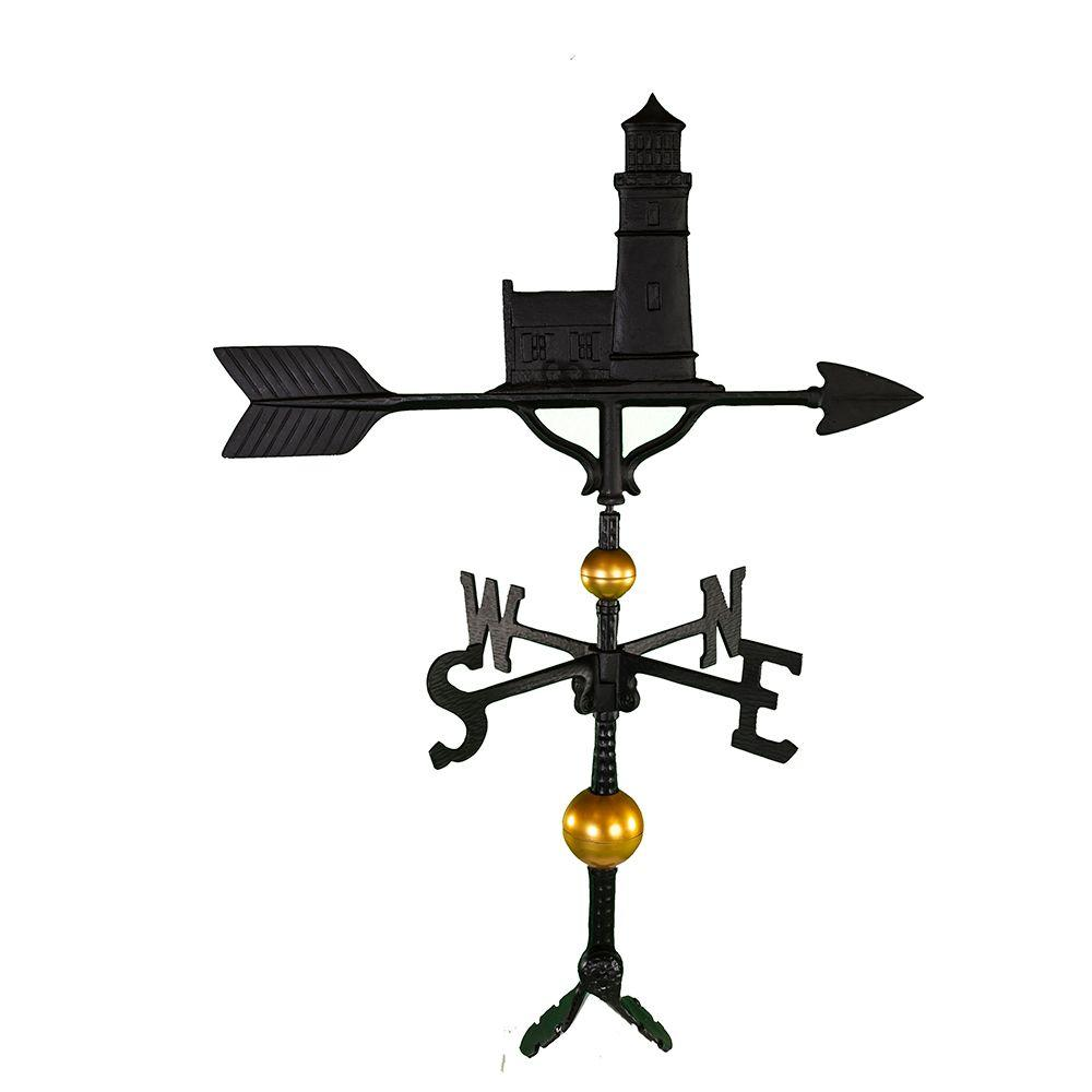 32 in. Deluxe Black Cottage Lighthouse Weathervane