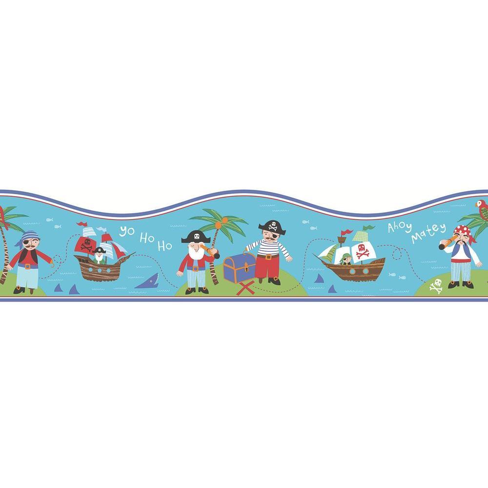 Pirates Teal Wallpaper Border Sample
