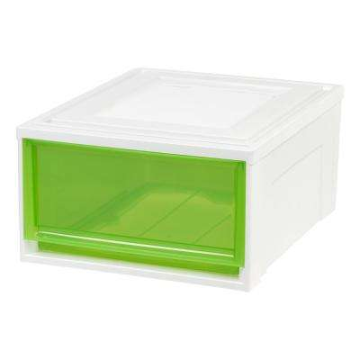 15.75 in. x 9 in. Medium Box Chest Drawer White with Green Drawers (3-Pack)