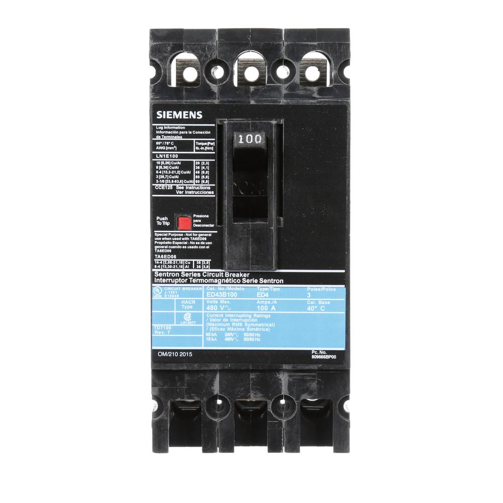 100 Amp 3-Pole Type ED 18 kA Circuit Breaker
