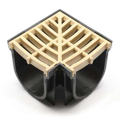 Easy Drain Series 90 Corner for 5.4 in. D Trench and Channel Drain System in Black with Sandstone Grate