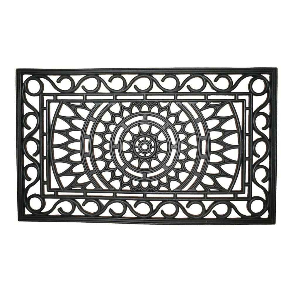 Entryways Sunburst 18 in. x 30 in. Recycled Rubber Door Mat-135R ...