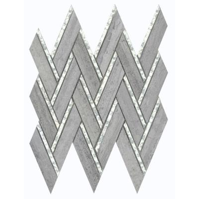 Impulse Blue 13.98 in. x 15.16 in. Chevron Glossy Limestone Mosaic Tile (1.471 sq. ft./Each)