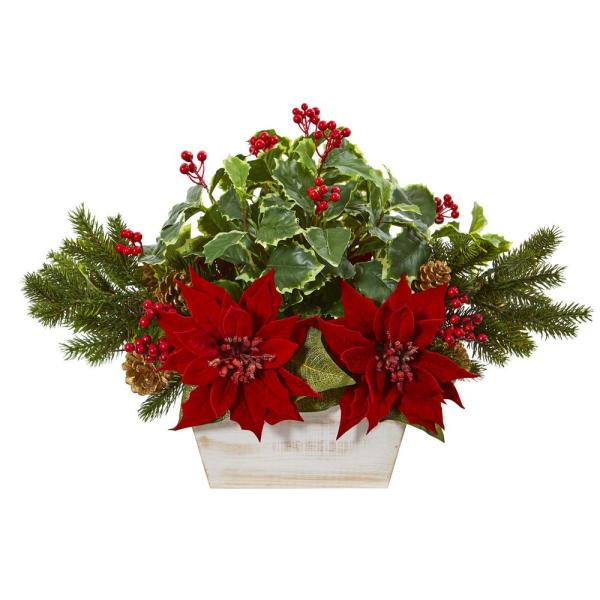 24in. Poinsettia, Holly, Berry and Pine Artificial Arrangement in Planter
