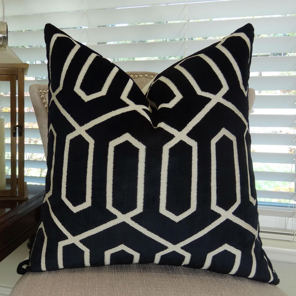 Bengal Lattice 18 in. x 18 in. Black and Cream Hypoallergenic Down Alternative Handmade Throw Pillow