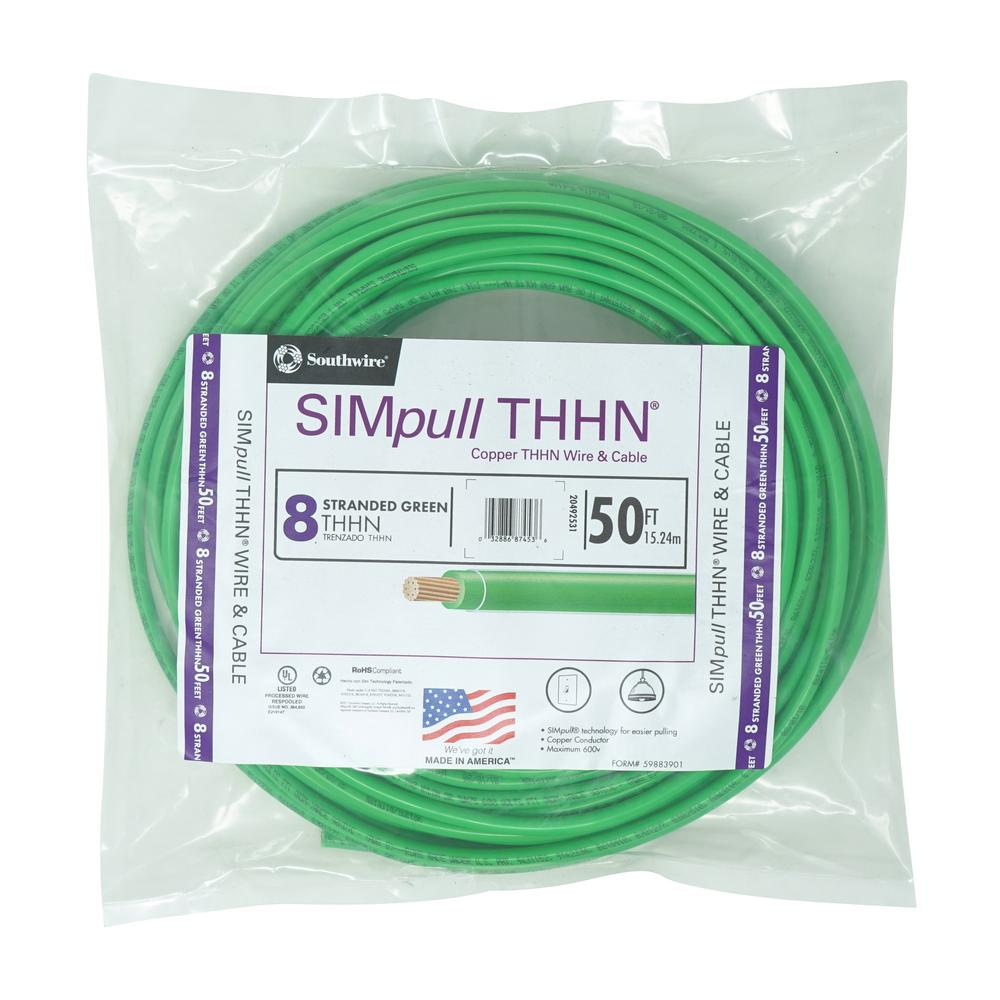 10 AWG THHN 50ft Green Building Wire
