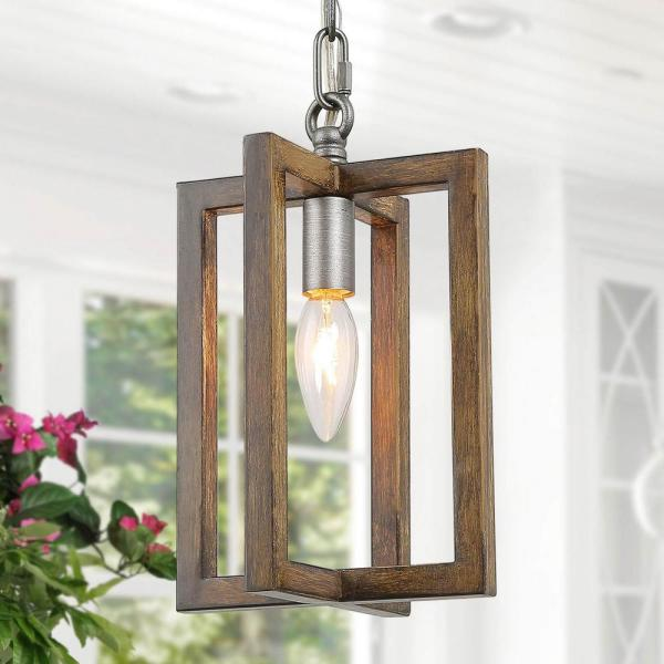 Eliora 1-Light Rustic Farmhouse Small Pendant Geometric Island Hanging Light Antique Silver with Painted Pine Accents