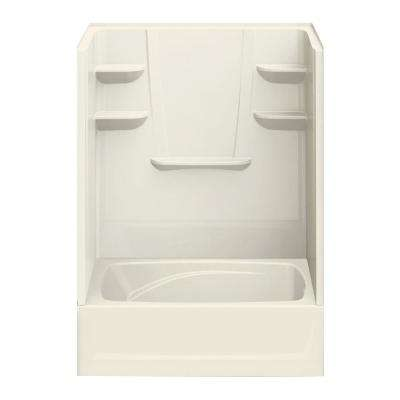 43 in. x 60 in. x 80 in. Bath and Shower Kit Right-Hand Drain in Biscuit