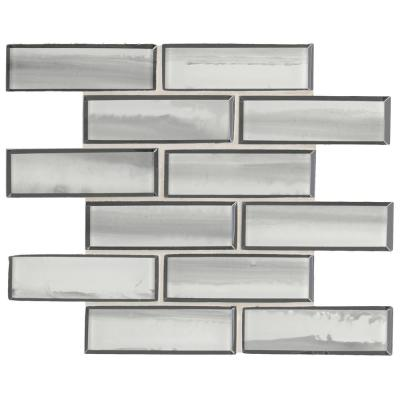 Ombre Grigia 11.73 in. x 11.73 in. x 8mm Glass Mesh-Mounted Mosaic Tile (9.6 sq. ft./case)