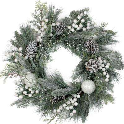 24 in. Unlit Frosted Artificial Mixed Pine and Pine Cone Wreath with White Berries and Balls