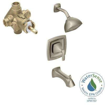 Voss Single-Handle 1-Spray PosiTemp Tub and Shower Faucet Trim Kit with Valve in Brushed Nickel (Valve Included)