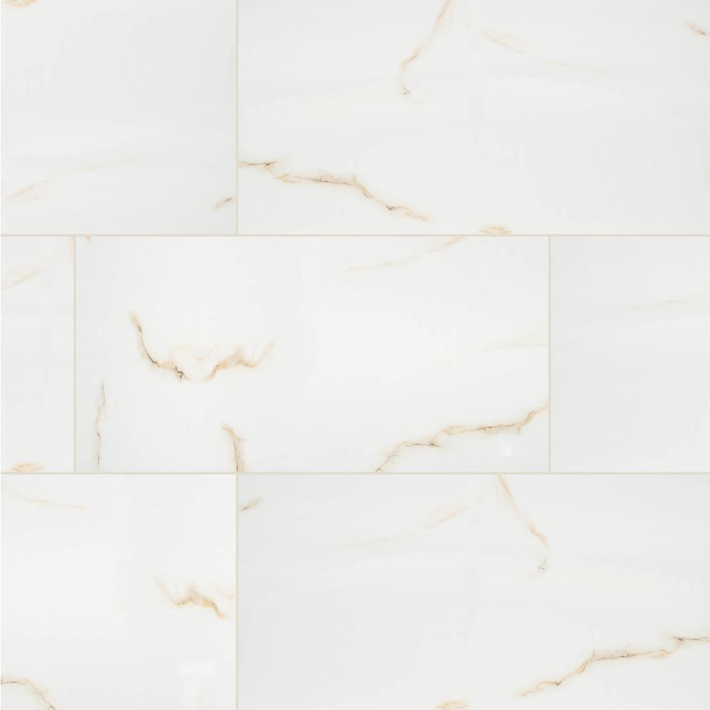 Aria Bianco 24 in. x 48 in. Polished Porcelain Floor and Wall Tile (7 cases / 112 sq. ft. / pallet)
