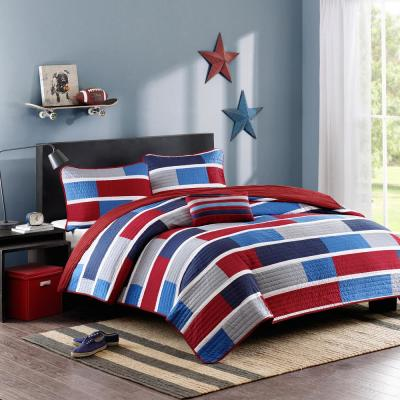 Nicholas 4-Piece Navy Full/Queen Striped Coverlet Quilt Set