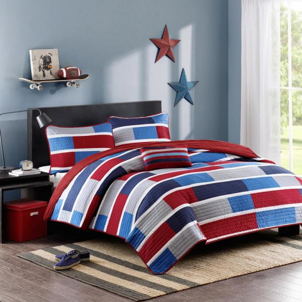 Mi Zone Nicholas 4-Piece Navy Full/Queen Striped Coverlet Quilt Set