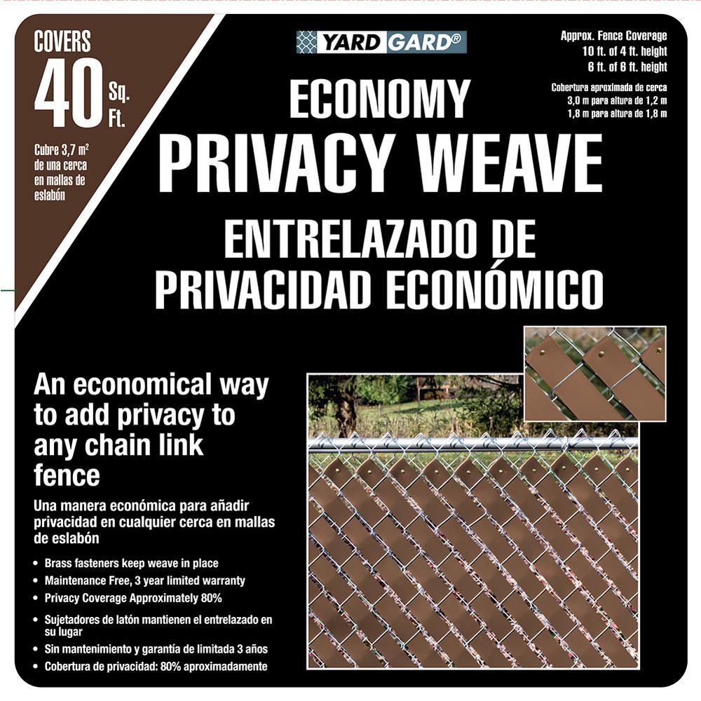 4 ft. H x 250 ft. W Brown Economy Vinyl Fence Panel Weave