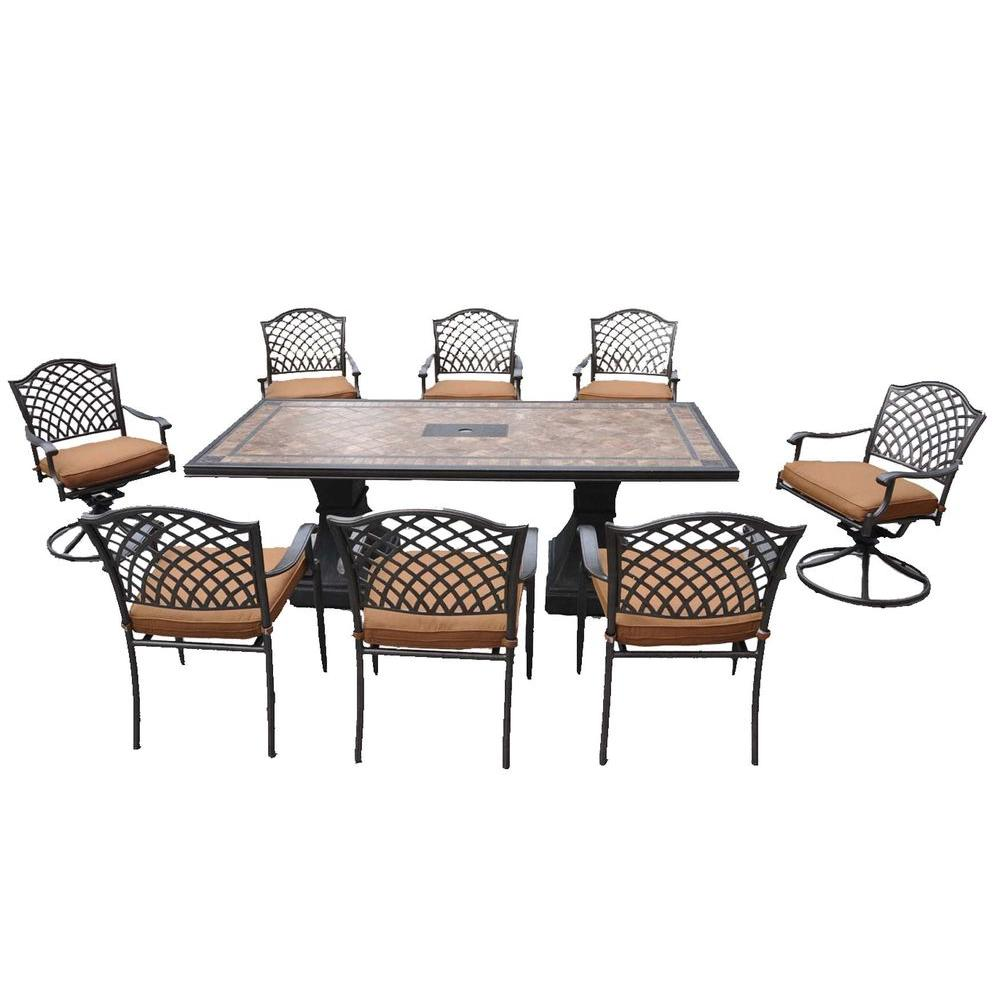 Shelbyville Patio Dining Chairs with Spiced Brown Cushions - Chairs Only