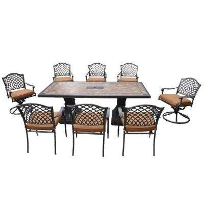 Shelbyville Patio Dining Chairs with Spiced Brown Cushions - Chairs Only (8-Pack)