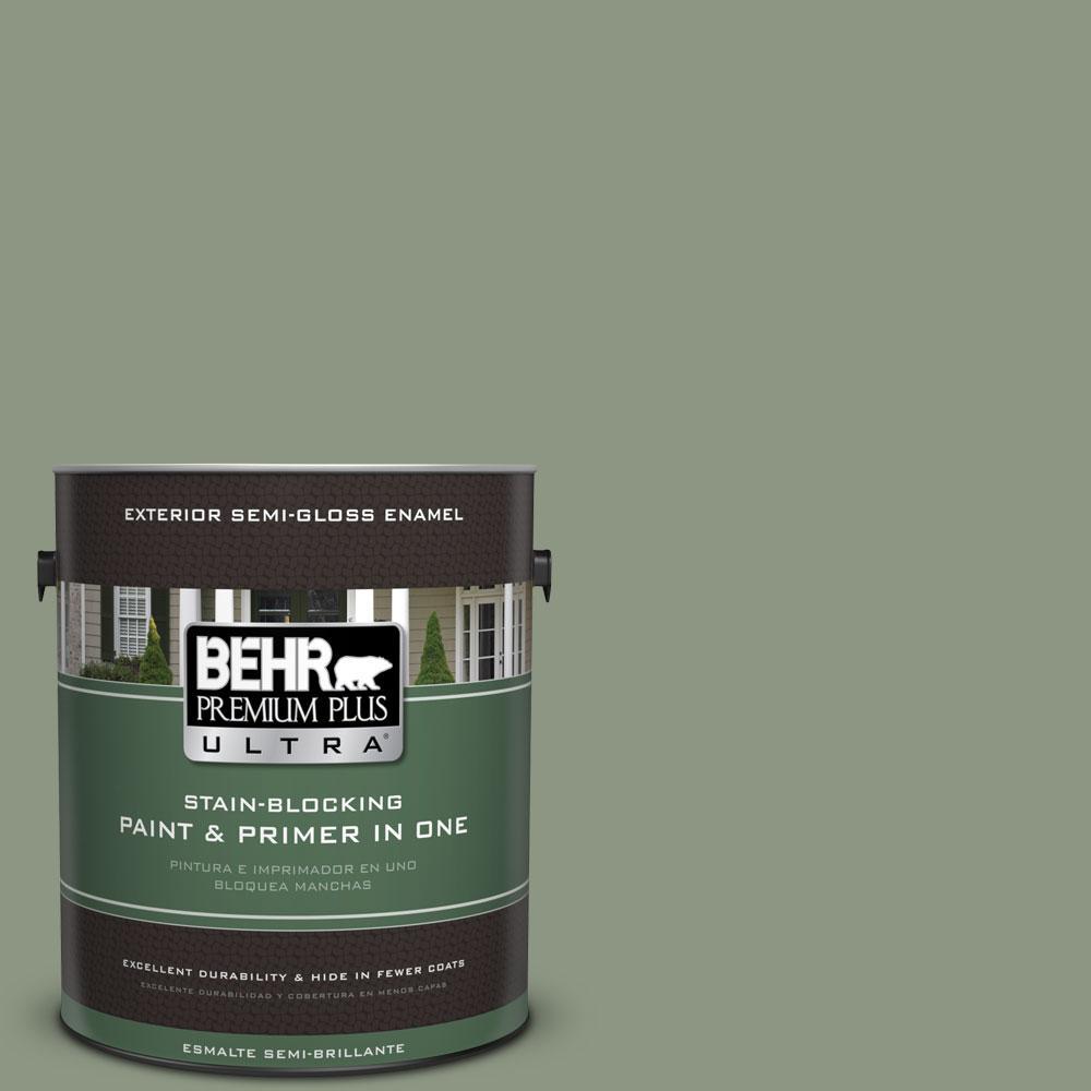 BEHR Premium Plus Ultra 1-gal. #PPU11-17 Hillside Green Semi-Gloss Enamel Exterior Paint