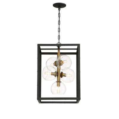Bentley Collection 5-Light Black and Gold Chandelier with Glass Shade