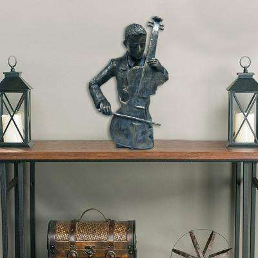 Violin Player Statue Patina Black Sculpture