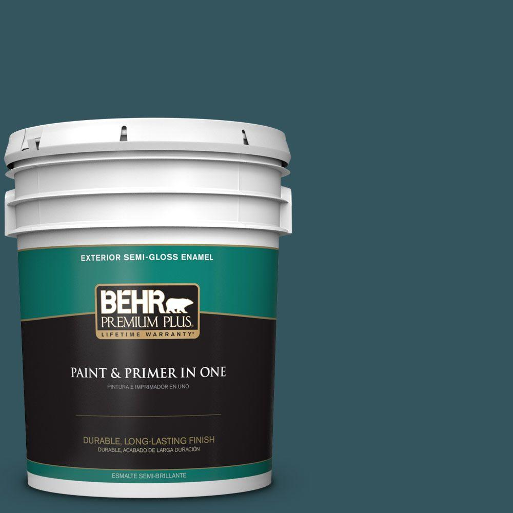 5-gal. #520F-7 Kingfisher Semi-Gloss Enamel Exterior Paint