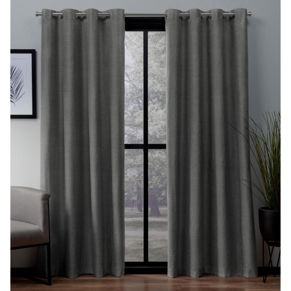 London 54 in. W x 96 in. L Woven Blackout Grommet Top Curtain Panel in Black Pearl (2 Panels)