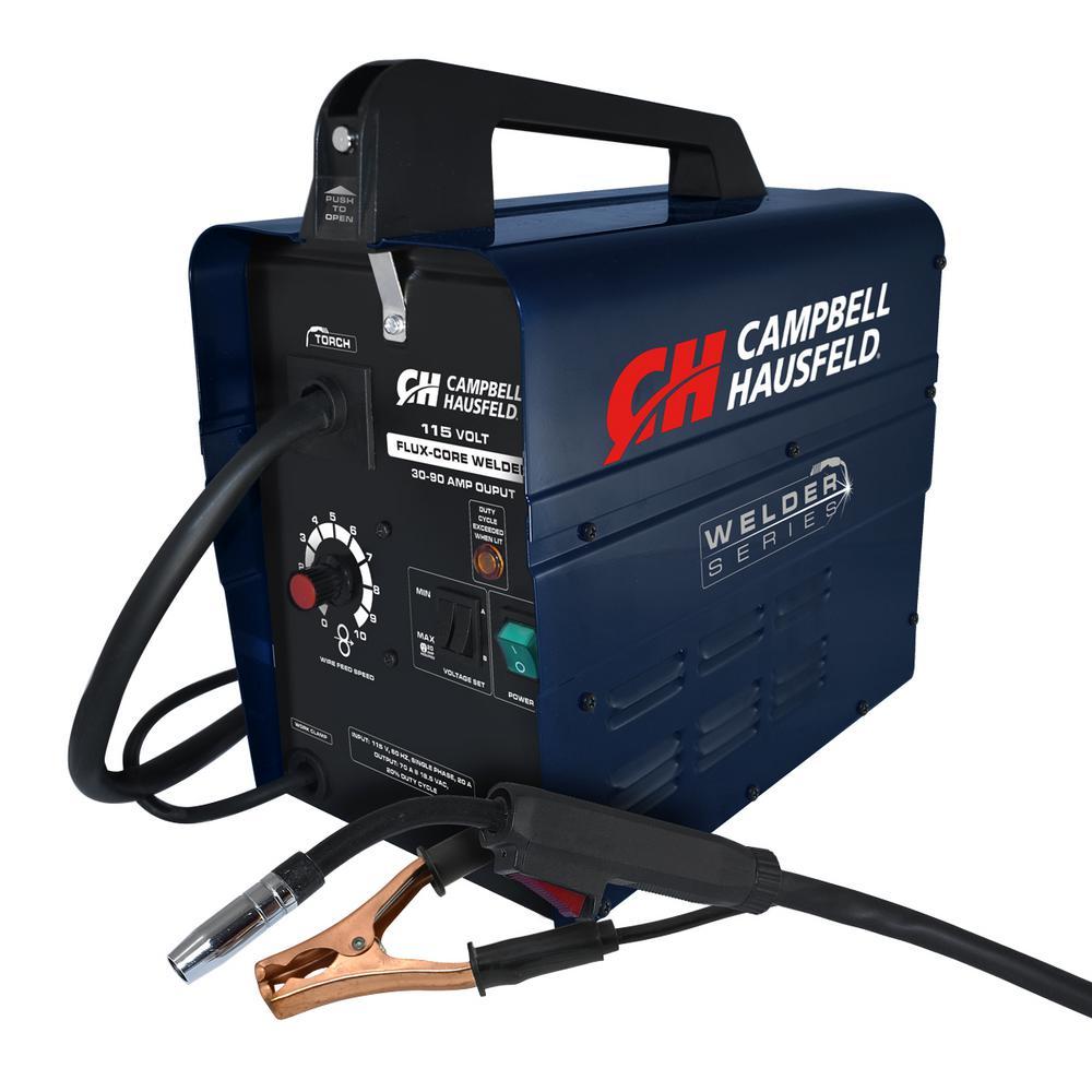 Campbell Hausfeld Flux Core Wire Welder 115-Volt 90 Amp with Welder  Accessories