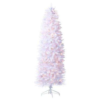 8 ft. Indoor Pre-Lit Kingswood White Fir Hinged Pencil Artificial Christmas Tree