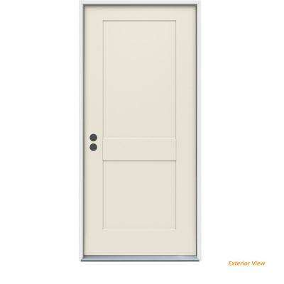 32 in. x 80 in. 2-Panel Craftsman Primed Steel Prehung Right-Hand Inswing Front Door